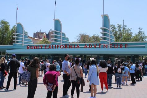 California Adventure Park hosts another day of the Touch of Disney ticketed event. Hundreds of people wait in line to enter inside the park on April 19.