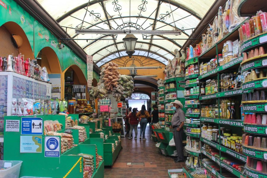 Social distancing and masks are required at all shops in Tijuana like Mercado El Popo (El Popo Market). Shoppers can find sweets, fresh cheese, dried chiles, herbs and other Mexican essentials. April 11, 2021.