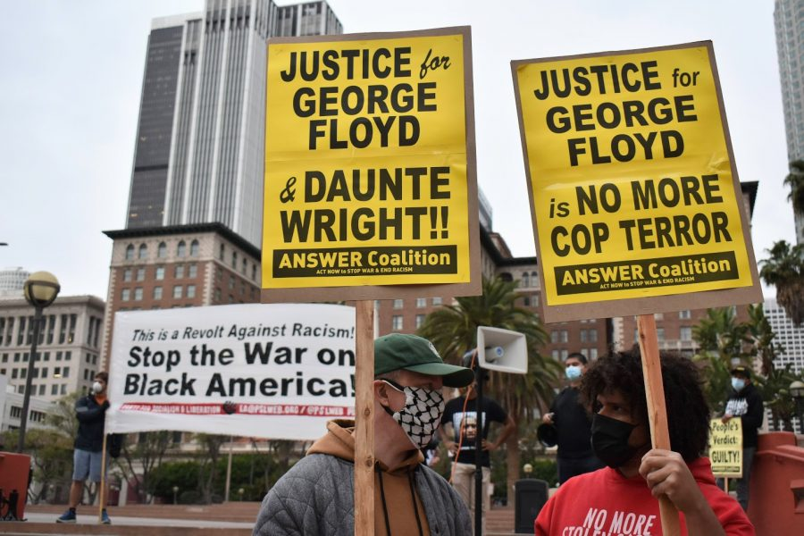 The ANSWER Coalition holds a protest in Pershing Square on April 21, 2021. They call for police accountability in the wake of Derek Chauvin's conviction for the murder of George Floyd. Photo credit: Vincent Medina