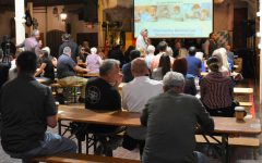 Dozens of maskless attendees attended the indoor seminar at the Old World Bar and Restaurant on March 31, 2021. Dr. Billy Demoss and Dr. John Bergman argued against widely held beliefs about the virus and the vaccine. Photo credit: Vincent Medina