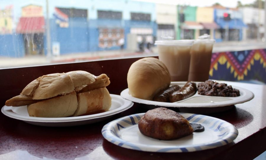 Some of Guatemalas specialties are pan frances con pakaya (left), rellenitos (center) and longanizas with cacamiento y crema (right). Horachata, rice milk, is also a popular beverage in Central America that is very similar to Mexicos. April 25, 2021