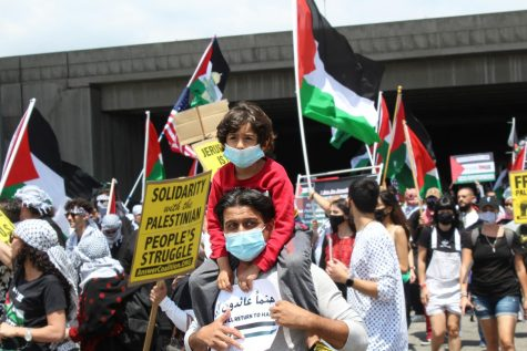 Many parents protesting at the rally on May 15 brough their children along in solidarity with the Palestinians. In the last week, over 200 people have died as a result of the increasingly violent attacks between Israelis and Palestinian militant group, Hamas.
