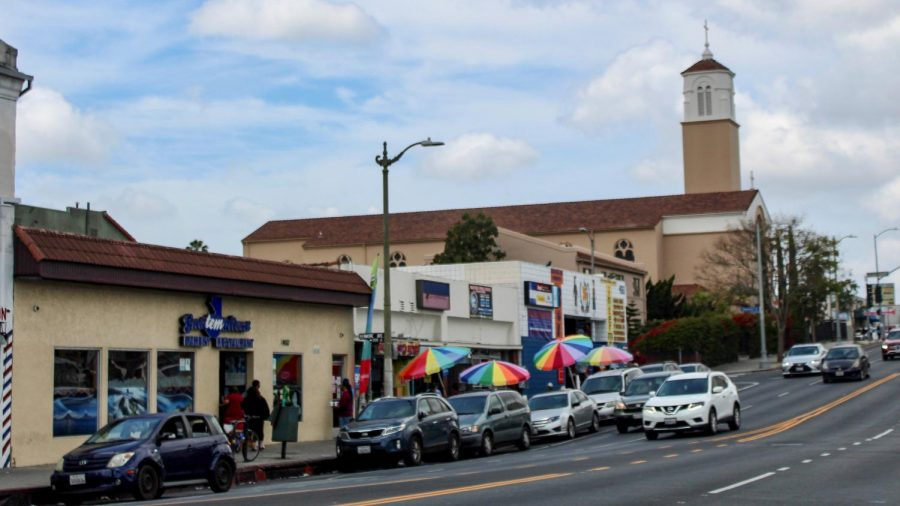 Guatelmalteca Bakery and Restaurant, 4161 Beverly Blvd, is one of many Central American businesses in the Koreatown area of LA. Vendors also line the street with colorful umbrellas as they sell Central American delicacies and other goods. April 25, 2021