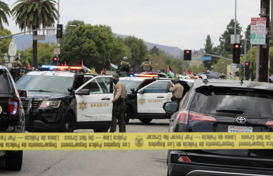 The Los Angeles Sheriff Department, California Highway Patrol and Los Angeles Police Department were in full force on May 15 but the protest remained peaceful. LAPD Senior Lead Officer Jim Lavenson said the significant police presence was there to maintain order.