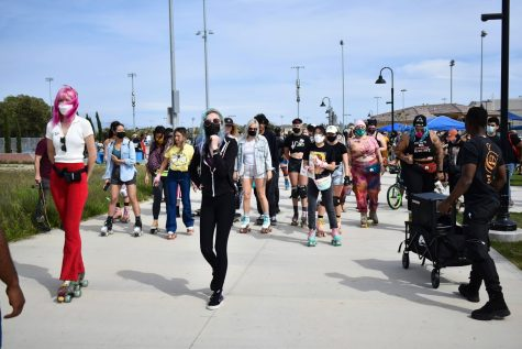 Skate to End Hate march and protest begins at the Tustin Legacy skate park on May 1, 2021. They later marched in the streets, despite warnings from the Tustin Police Department.