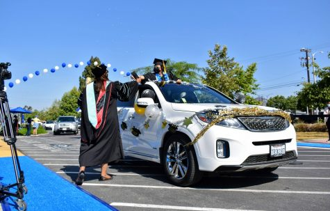 Cerritos College graduating class of 2021 celebrated their achievements with a socially-distance commencement ceremony on May 28, 2021. Many students decorated their cars with streamers and stickers.
