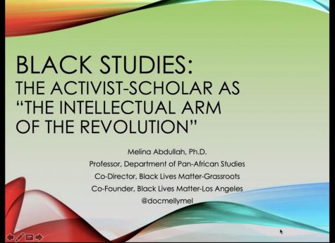 "The theme of the Social Justice talk given by Dr. Melina Abdullah was ""The Intellectual Arm of the Revolution"" May 4."
