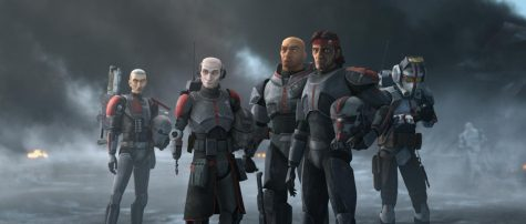 "(L-R): Crosshairs, Echo, Wrecker, Hunter and Tech in a scene from ""STAR WARS: THE BAD BATCH"", exclusively on Disney+. © 2021 Lucasfilm Ltd. & ™  All Rights Reserved. Photo credit: Lucasfilm Ltd. & Walt Disney Company"