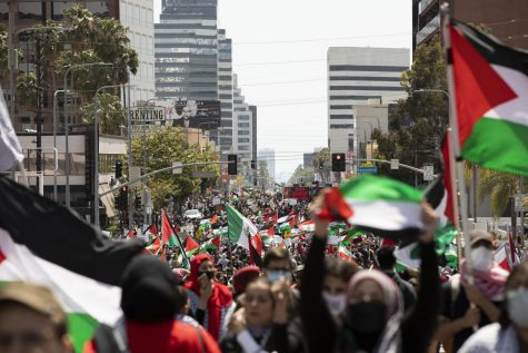 Thousands marched on May 15, 2021 in Los Angeles in solidarity with Palestinians. Demonstrators marched on Wilshire Blvd demanding peace and justice.