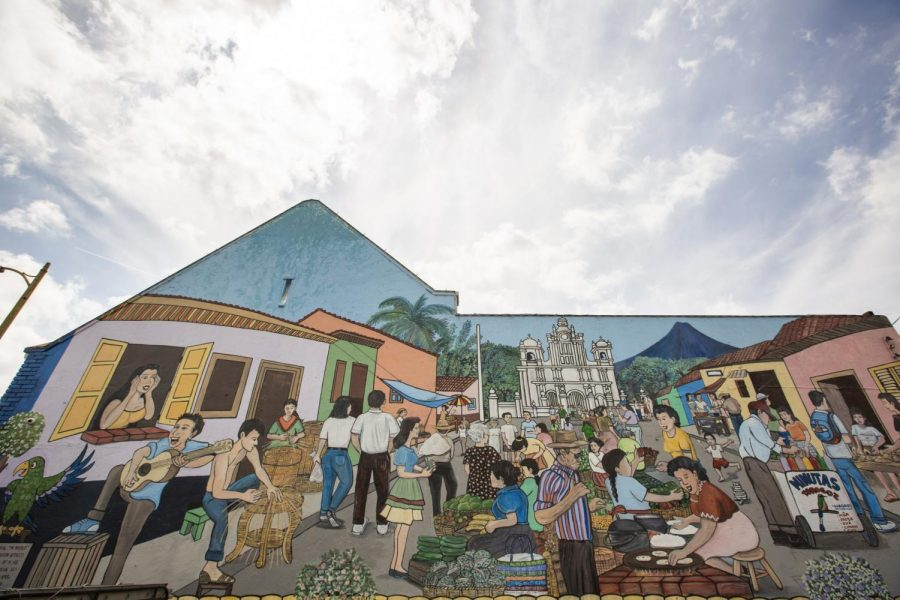 A colorful mural of Izalco, El Salvador painted outside El Chavocho, 4273 Beverly Blvd. The Salvadoran restaurant is one of many Central American businesses in the area. April 25, 2021