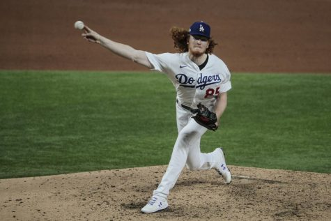 Arlington, Texas, Tuesday, October 6, 2020. Los Angeles Dodgers starting pitcher Dustin May (85) pitches in relief of Walker Buehler in the fifth inning against the Padres in game one of the NLDS at Globe Life Field. Photo credit: Robert Gauthier/ Los Angeles Times/TNS
