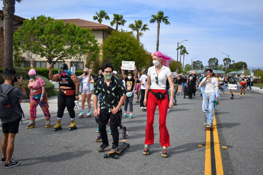 Skate to End Hate march begins at Tustin Legacy Skatepark on May 1, the first day of AAPI heritage month. The protest is in response to the attack on Jenna Dupuy, who was beaten at the park three weeks prior.