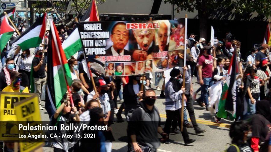 The+Palestinian+Rally%2FProtest+on+May+15%2C+2021+began+at+the+Wilshire+Federal+Building+and+demonstrators+marched+west+chanting+in+support+of+Palestine.+Many+people+believe+the+U.S.+needs+to+stop+funding+Israel+and+provide+more+support+for+the+Palestinians.