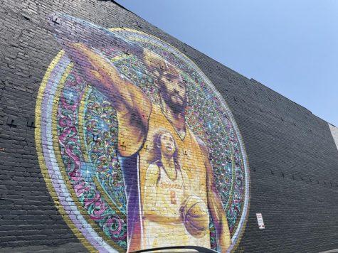 Color artwork across the Metro blue line. Kobe Bryant Mural located on 1348 Flower St, Los Angeles, CA 90015