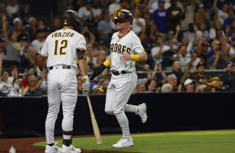 San Diego Padres Jake Cronenworth scores on a hit by Wil Myers against the Los Angeles Dodgers in the second inning at Petco Park on Wednesday, August 25, 2021 in San Diego, CA. Photo credit: K.C. Alfred/San Diego Union-Tribune/TNS