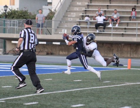 Falcons Wide Reciever #10 Bailey Torres makes the 50-yard catch and scores the Falcon's second TD against Fullerton. Photo By: Roman Acosta Staff Writer for the Talon Marks, Sept. 11th, 2021.