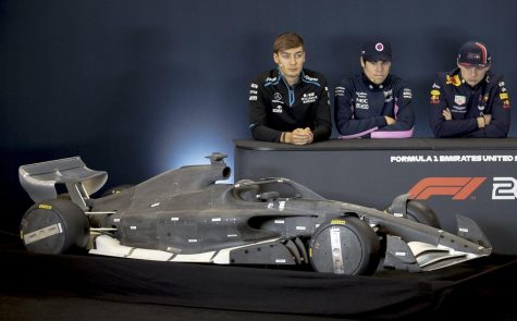 From left, Williams driver George Russell of Britain, Racing Point driver Lance Stroll of Canada and Red Bull driver Max Verstappen of the Netherlands take questions during the U.S. Grand Prix press conference Thursday at Circuit of the Americas. [NICK WAGNER/AMERICAN-STATESMAN] Photo credit: NICK WAGNER/AMERICAN-STATESMAN