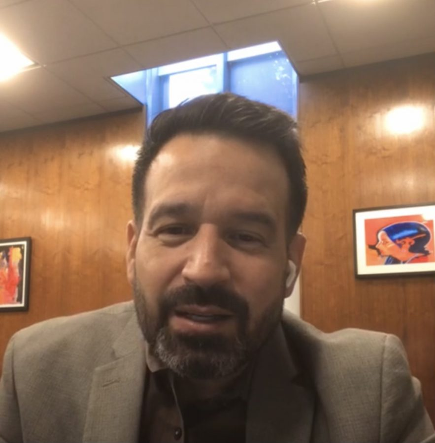 President Fierro of Cerritos College acknowledges every viewer as they join onto his Instagram live. Fierro informed viewers about athletic games resuming, cases getting under control and the vaccine mandate which will occur on Oct. 1. Photo credit: Fatima Durrani