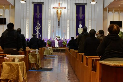 The Archdiocese of Los Angeles recommends that all eligible people receive the COVID-19 vaccine. The Saint John of God Church holds an indoor Ash Wednesday sermon on Feb. 17, 2021. Photo credit: Vincent Medina