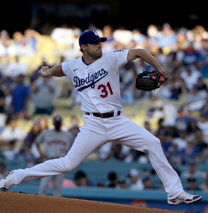The Los Angeles Dodgers Matt Scherzer pitches against the Houston Astros in the first inning at Dodger Stadium in Los Angeles on Wednesday, Aug. 4, 2021. (Luis Sinco/Los Angeles Times/TNS)