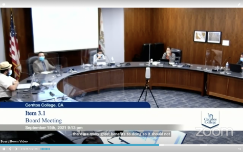 Cerritos College Board of Trustees discusses mandating the COVID-19 vaccine for students and faculty on campus. They proposed revisions to the policy during their meeting on Sept. 15, 2021.