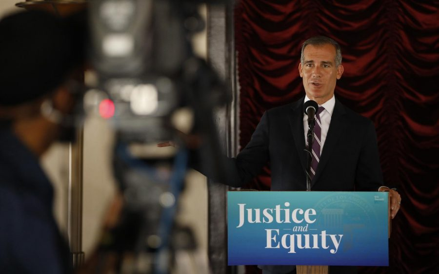Los Angeles Mayor Eric Garcetti durings a news conference while he signs his 2021-2022 budget, in the Tom Bradley room of Los Angeles City Hall on June 2, 2021. (Al Seib/Los Angeles Times/TNS)