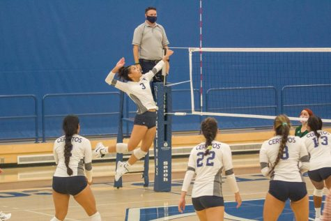 Freshman Jayda Hamete goes up for a spike against East Los Angeles on Wednesday October 20th. Cerritos went on to sweep ELAC in three games. Photo credit: Courtesy of Jayda Hamete