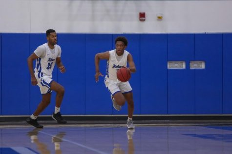 Joshua Belvin (2) and Dorian Harris (20) at the Santiago Canyon match. Almost a year later and the Falcons are still as ready as ever to face another opponent. Photo credit: Daryl Peterson/ Sports Information Office