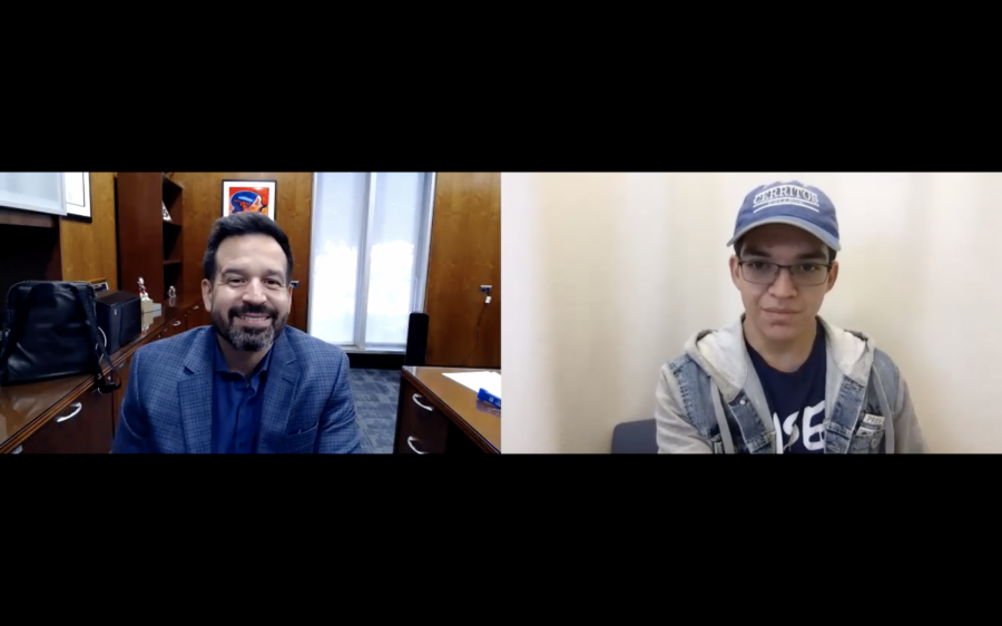Talon Marks managing editor, Vincent Medina, interviews Cerritos College president, Dr. Jose Fierro. They discuss the board of trustees decision to implement a COVID-19 vaccine mandate on Jan. 3, 2022. Photo credit: Vincent Medina