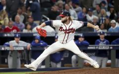 In this photo from October 23, 2021, Atlanta Braves relief pitcher A.J. Minter works during the fifth inning against the Los Angeles Dodgers in Game 6 of the National League Championship Series at Truist Park in Atlanta. The Braves move on the World Series with a 4-2 win over the Dodgers, who have a plethora of decisions to make in their earlier than expected offseason. (Robert Gauthier/Los Angeles Times/TNS)
