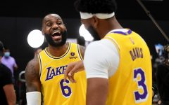 Los Angeles Lakers Lebron James, left, and Anthony Davis share a laugh during media day at the UCLA Health Training Center in El Segundo, California on Tuesday, Sept. 28, 2021. (Wally Skalij/Los Angeles Times/TNS)