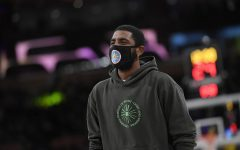 Kyrie Irving (11) of the Brooklyn Nets during a preseason game against the Los Angeles Lakers at Staples Center on Oct. 3, 2021 in Los Angeles. Photo credit: Kevork Djansezian/Getty Images/TNS