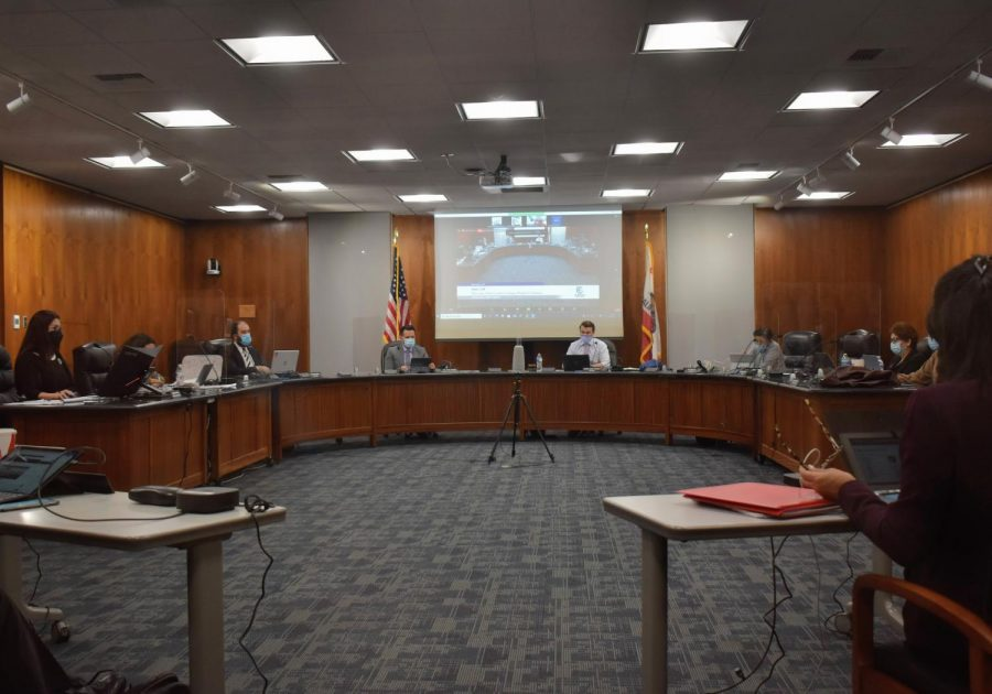 Cerritos College board of trustees votes to implement a COVID-19 vaccine mandate, starting in January 2022. Trustees conduct their meeting on Oct. 6, 2021. Photo credit: Vincent Medina